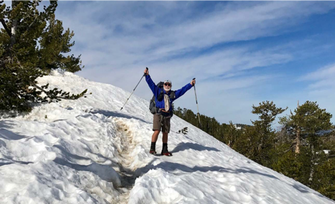 Carey near the summit of 9,406-foot Mt-Baden Powell at about mile marker 380 on the PCT.